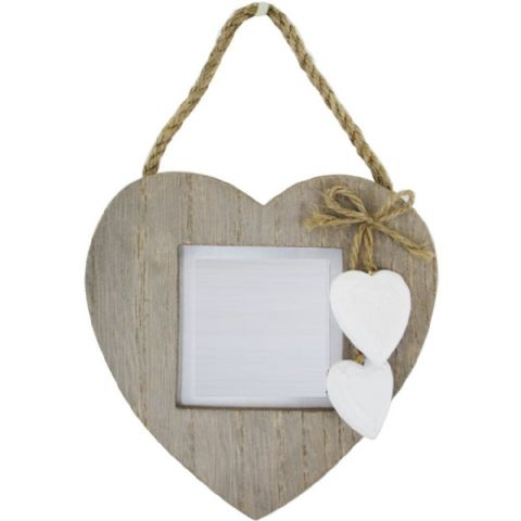 Natural Wooden Heart Photo Frame on a Rope